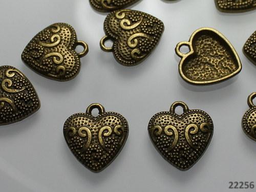 22256 Vintage přívěšek bronz srdce 17/15, bal.2ks