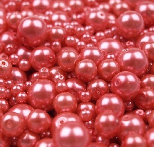 Voskované perly červenorůžová MIX Ø4-10mm 50g skl.