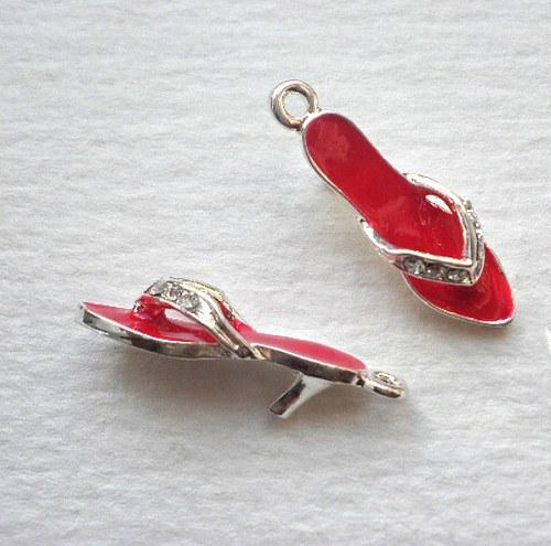 Červený pantoflíček - 1ks