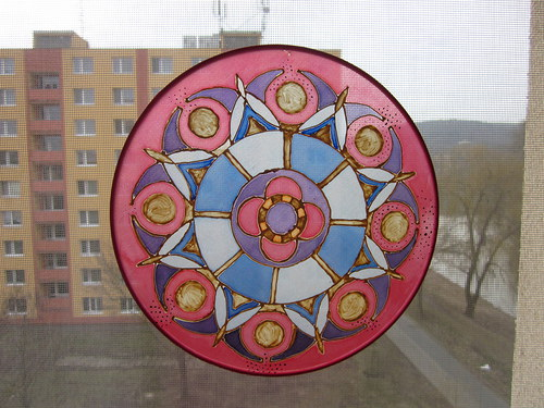 Malba na hedvábí Mandala II.