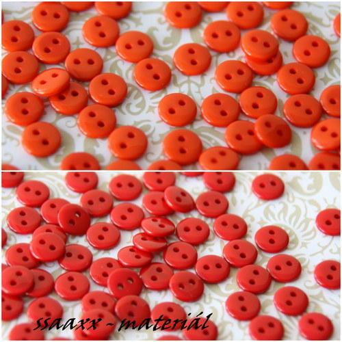 Oranžová nebo červená, knoflík 9mm, 5ks