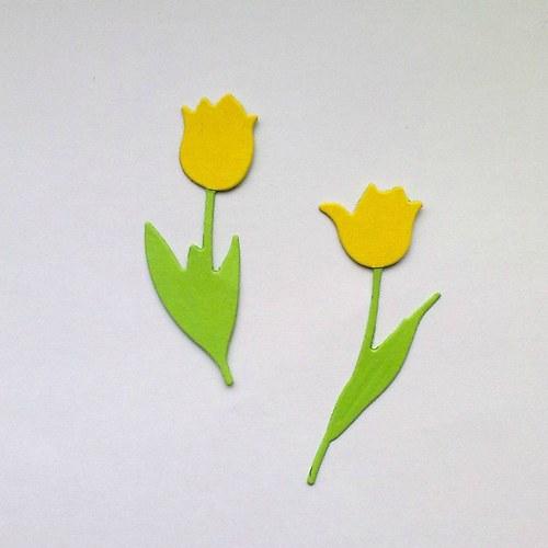 Výsek - tulipány žluté  2ks