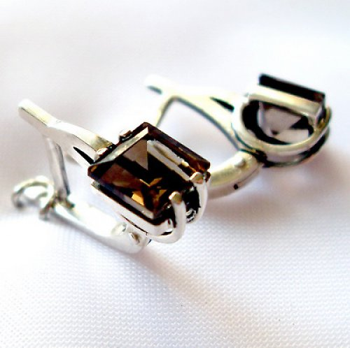 Náušnice «Rozbřesk - stříbro 925/1000, záhněda