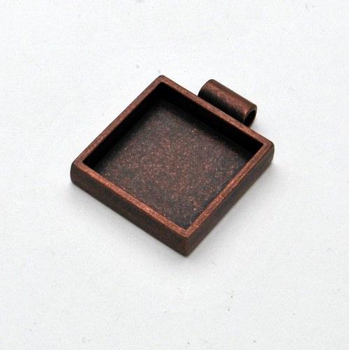 Kovový základ na přívěsek čtvereček / měděný
