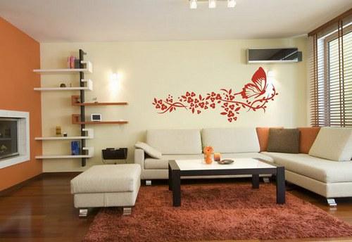40x95cm Kvety a motýľ Samolepíci dekorace 050n