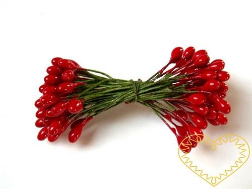 Pestíky květinové červené 4 mm - 50 ks