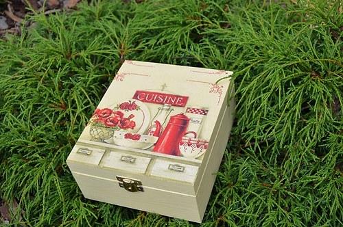 Krabička na čaj - 4 přihrádky - konvice