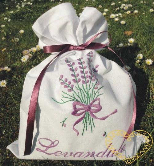 Sáček na bylinky levandule - předloha pro vyšíván