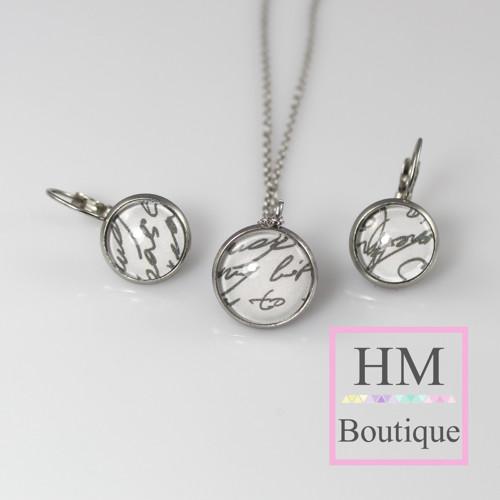 ocelový set -náušnice a náhrdelník psaníčko
