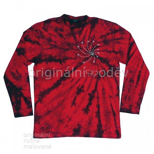 Batikované tričko dámské - hvězdy - červené