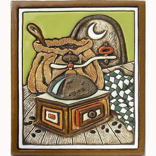 Keramický obrázek - Starý kávomlýnek K-121-Z
