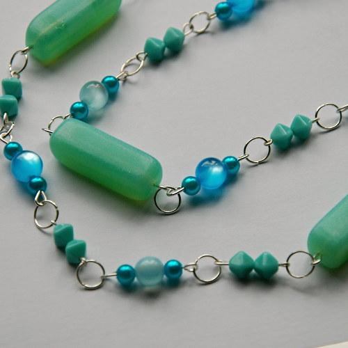 Tyrkysový dlouhý náhrdelník