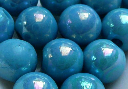 Plastové kuličky duhové 6 mm - sv. tyrkys / 10 ks
