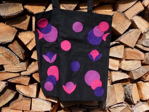Optimistická látková taška - černá