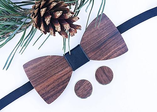 Dřevěný set: Motýlek Klasik Leather + manžetky