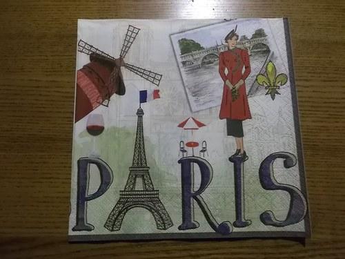 Ubrousek na decoupage - Paris motivy