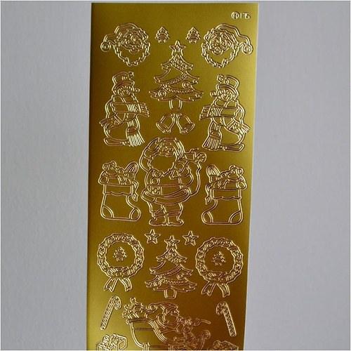 Nálepky (Santa, stromečky, dárky) 10x23cm