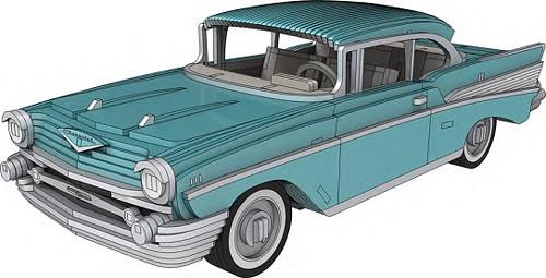 Dřevěná skládačka Chevrolet BelAir 1957