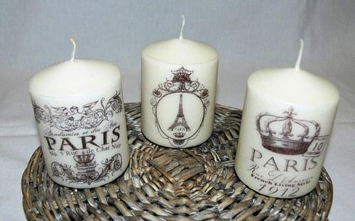 Svíčky - Paris ve vintage stylu