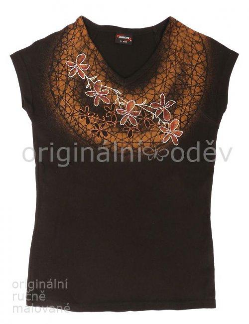 Malované tričko dámské - květy6 - černé