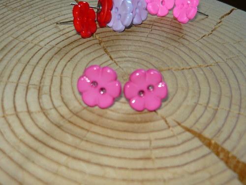 Kytičky tmavě růžové - naušnice