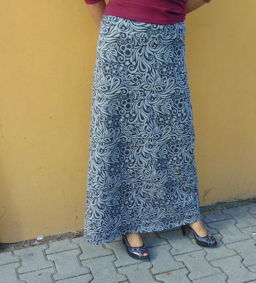 dlouhá sukně barva šedý květ