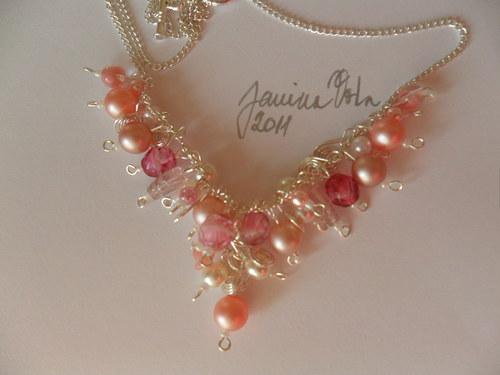 SLEVA Růžová romantika - náhrdelník