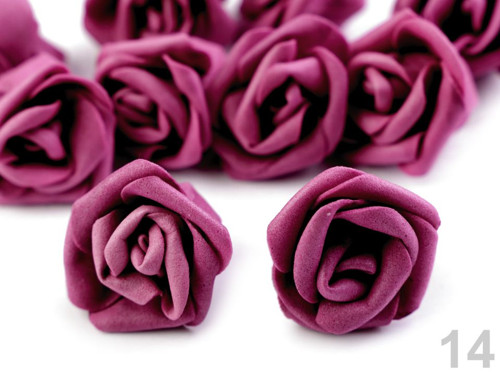Dekorace růže Ø4 cm (10ks) - vínová