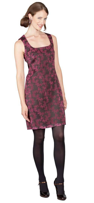 Šaty Harpa - černá s růžovým vzorem 0363