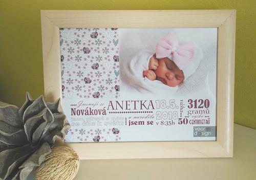 Obrázek pro novorozence - holčička