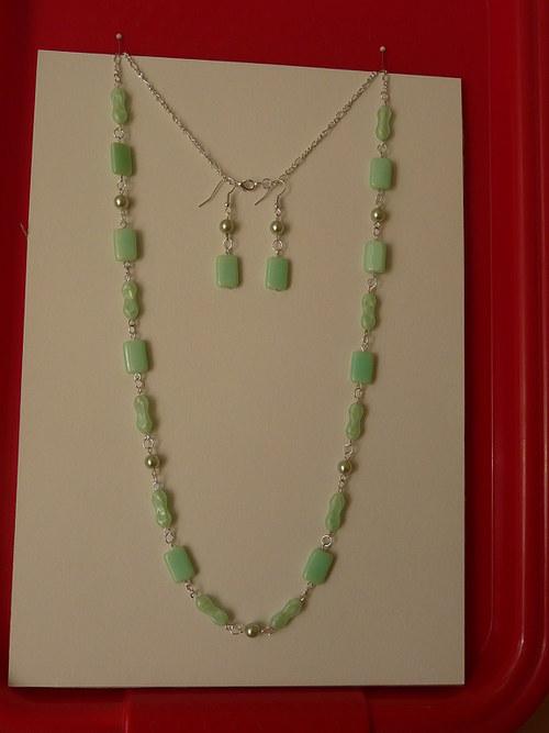 Modrozelený náhrdelník a náušnice