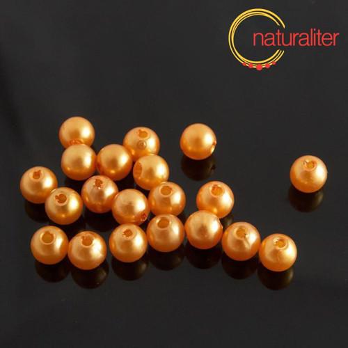 Voskované perly, oranžové, 6mm, 50ks