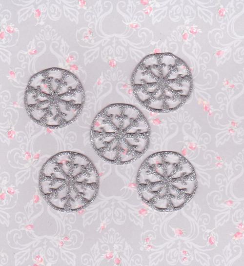 Vločky ze třpytivé pěnovky - stříbrné (5 ks)