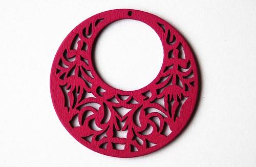 dřevěné kolečko- tm. růžové