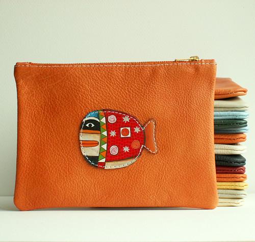 Orange Whale - taštička kožená (oranžová)