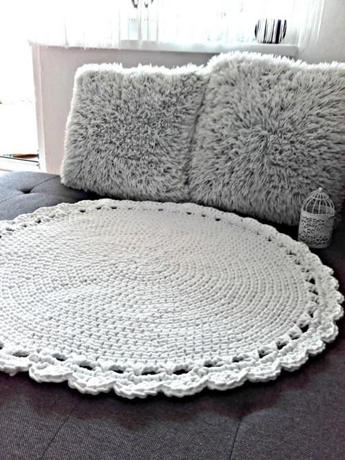 Scandinavian háčkovaný koberec biely 80cm