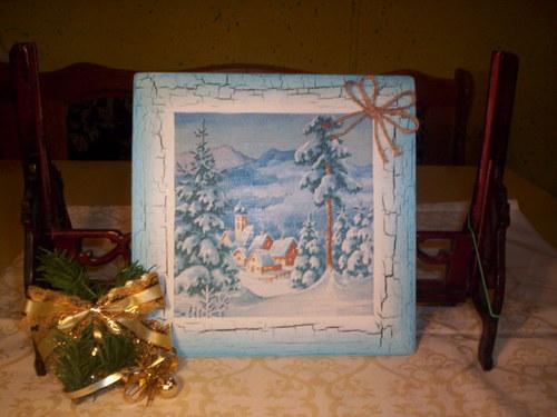 Pěkný vánoční obrázek - Vánoční krajinka v modrém