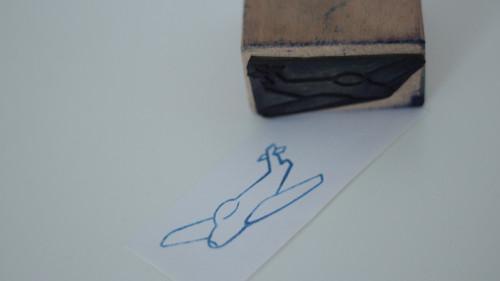 Dětské razítko s obrázkem, tiskátko letadlo