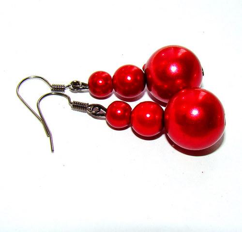 náušnice  červené perličky
