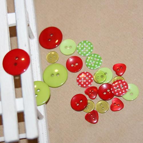 Zeleno - červená vánoční sada I, 23 kusů