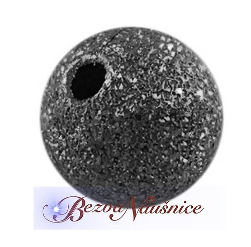 Mosazný korálek stardust - barva černá