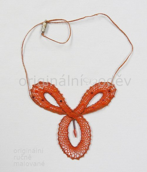 Paličkovaný náhrdelník - oranžový trojlíste