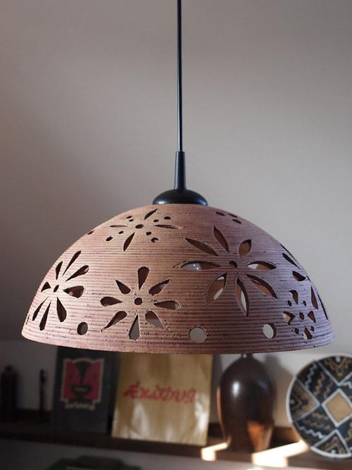 lustr keramický - KYTKY - červený