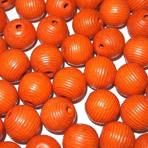 Dřevěné korálky vlnkované kuličky 20 mm (cena14ks)