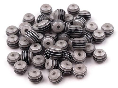 Plastové korálky Ø 8mm s proužkem - černé (10ks)