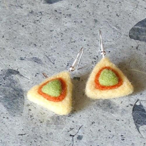 Náušnice - plstené trojuholníčky