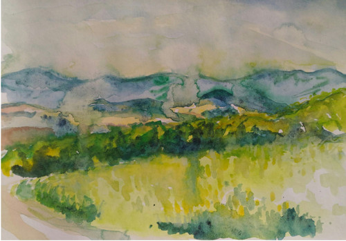 Autorská pohlednice z akvarelu - Rychleby (A6)