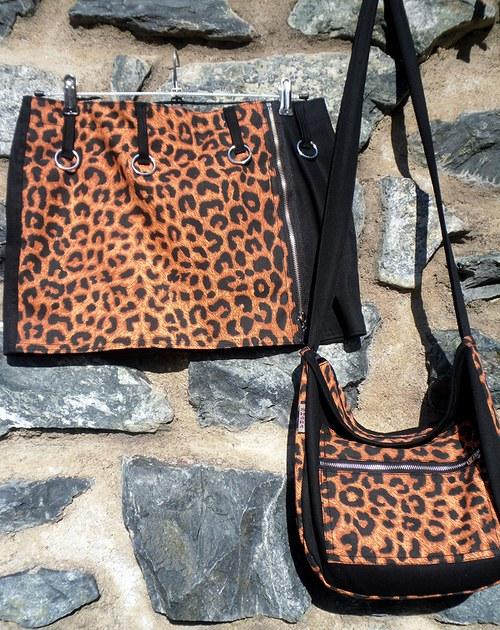 Leopardí sukně + kabelka