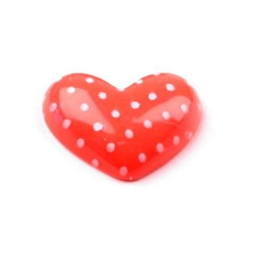Plastové srdce oranžové - kabošon - 2 ks