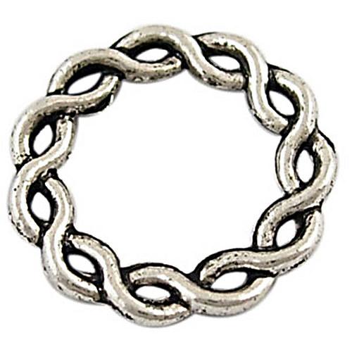 kroužek pletený větší/ ant.stříbro/ 20 mm/ 2ks